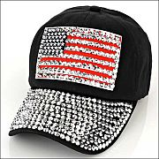 Black Rhinestone Bling Flag Hat