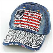 Blue Jean Rhinestone Bling Flag Hat