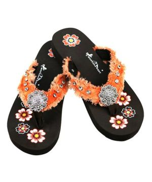 New Montana West Orange Thin Flat Flip Flops #MW-ORANGE7