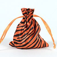 Set of 10 Orange Satin Zebra Print Bags     #ORZebrabbcs