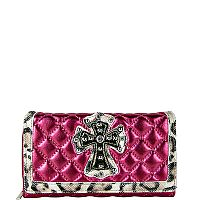Shiny Hot Pink Leopard Rhinestone Cross Wallet        #WWD-HOTPINK