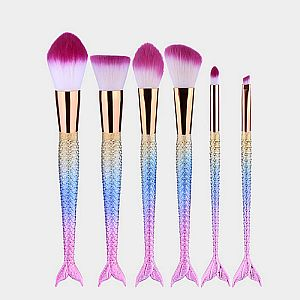 6pc. Hot Pink Mermaid Make Up Brush Set    #WHOTPNK