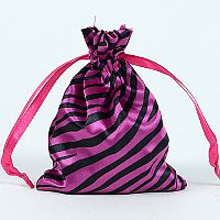Set of 10 Fuschia Satin Zebra Print Bags                     #FuZebrabbcs