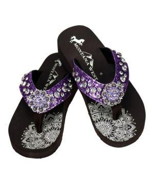 Montana West Rhinestone Dark Purple Sparkle Flip Flops #ZMW-PPLE2DK