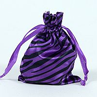 Set of 10 Purple Satin Zebra Print Bags             #Zebrabbcs