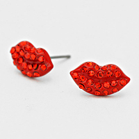Rhinestone Larger Red Lip Earrings     #WRED