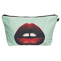 White Red Lips Mouth Cosmetic Bag      #CH-redlips