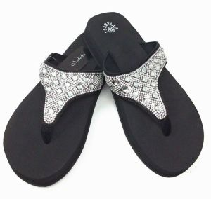 NEW Black Rhinestone Shimmer Be Trendy Flip Flops   #EB-SH1600BLACK