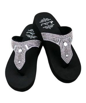 New Montana West Silver Bling Wedge Flip Flops  #MW-SILVER16