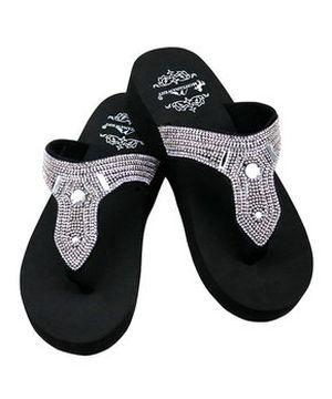 Silver Crystal Slide Sandals        #CRSILVERSL