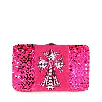 Hot Pink Sequin Cross Wallet          #PinkSequin