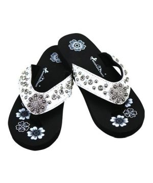 New Montana West White Thin Flat Flip Flops #MW-White5