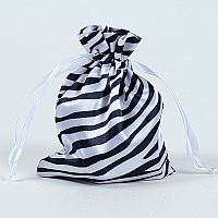Set of 10 White Satin Zebra Print Bags   #WHZebra