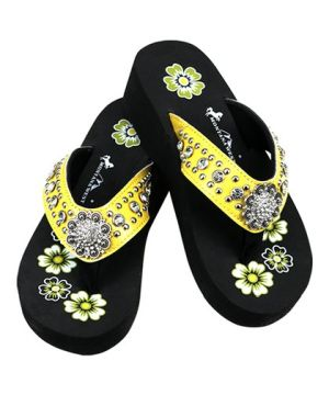 New Montana West Yellow Wedge Flip Flops #MW-YELLOW13