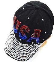 Rhinestone USA Bling Black Hat             #ykt-8563BK
