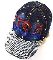 Rhinestone USA Bling Blue Jean Hat               #ykt-8563DBL