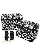 2 Black & White Damask Cases