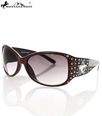 Montana West Burgundy USA Star Sunglasses      #YKT-3334BGDY