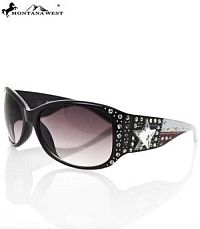 Montana West Black Bling USA Star Sunglasses      #YKT-3334BLK